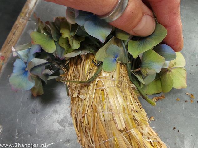 hortensia krans maken met patentkrammen