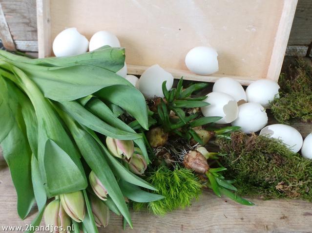 materialen om een eiertuintje te maken paasidee