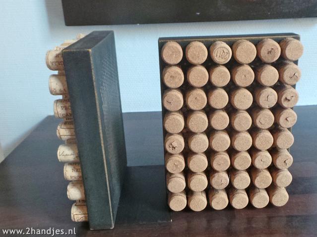 recyclen knutslen met wijnkurken boekensteun maken