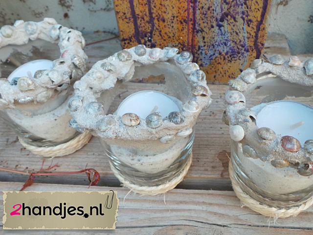 waxinelichtjes met schelpen